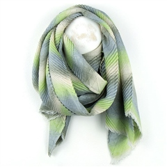 Peace Of Mind Chevron Print Pleated Scarf - Green