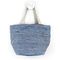 Peace Of Mind Recycled Woven Shoulder Bag - Blue/Silver