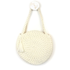 Peace Of Mind Round Cotton Rope Bag - Cream/Gold
