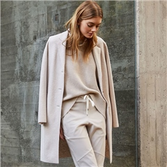Oui Virgin Wool Longline Coat - Off White