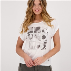 Monari Grid Photoprint Cotton Blend Slub T-Shirt - White