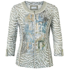 Just White Abstract/Zebra Print Cotton Blend Jacket - Khaki