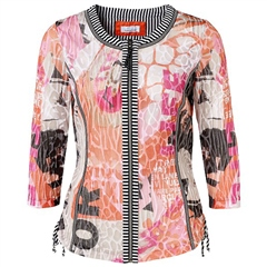 Just White Abstract/Letter Print Cotton Blend Jacket - Lobster