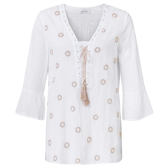 Just White 100% Cotton Embellished Circles Tunic - White