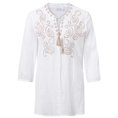 Just White 100% Cotton Embroidered Tie Detail Tunic - Beige