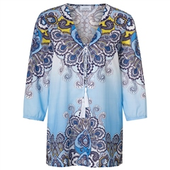 Just White 100% Cotton Embellished Abstract Print Tie Detail Tunic - Blue