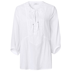 Just White 100% Cotton 3/4 Sleeve Embroidered Tunic - White
