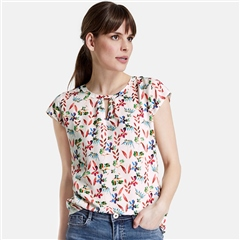 Taifun Botanical Floral Print Top - Off White