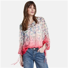 Taifun Dip Dye Floral Blouse With Camisole - Off White
