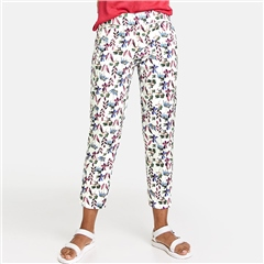 Taifun Botanical Floral Print 7/8th Trousers - Off White
