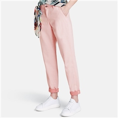 Taifun TS 7/8th Chinos With Decorative Scarf - Flushed Rose