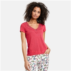 Taifun Lace Neckline Top - Watermelon