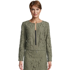 Betty Barclay Floral Lace Cropped Jacket - Dusty Olive