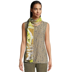Betty Barclay 100% Cotton Leaf Print Scarf - Green