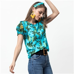 Emily Lovelock 100% Modal Floral Print Top - Blue