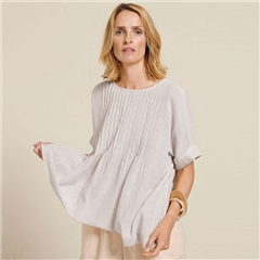Two Danes 'Ghita' 100% Cotton Pintuck Top - Soft White