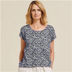 Two Danes 'Rask' Modal/Cotton Floral Print Top - Mood Indigo