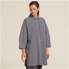 Two Danes 'Saki' 100% Cotton Check Oversized Shirt - Navy Blazer
