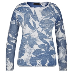 Rabe 100% Cotton Leaf Print Jumper - Blue Jeans
