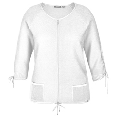 Rabe Zip Up Drawstring Jumper - White