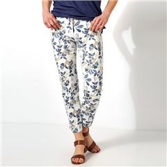 Toni 'Be Loved' Slim Fit 7/8th Floral Print Jeans - White