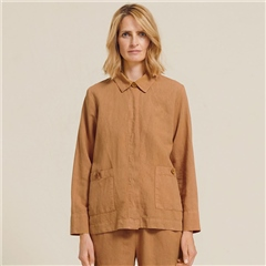 Two Danes 'Lila' Linen/Cotton Blend Jacket - Brown Sugar