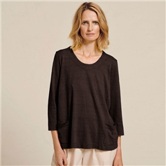 Two Danes 'Haiam' Hemp/Organic Cotton Striped Top - Black Coco