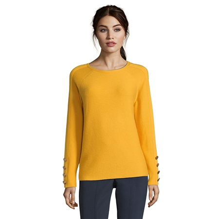 Betty Barclay Button Cuff Round Neck Jumper - Golden Glow  - Click to view a larger image