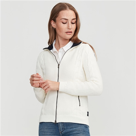 Holebrook 'Jossan' 100% Cotton Cable Knit Windproof Jacket - Off White