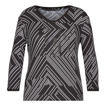 Le Comte Embellished Abstract Stripe Top  - Click to view a larger image