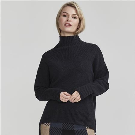 Holebrook 'Miriam' High Neck Wool Blend Jumper - Navy
