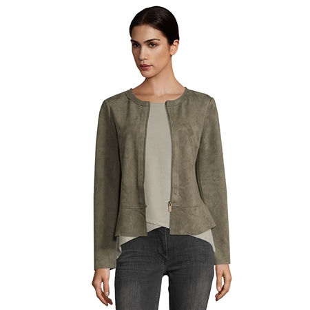 Betty Barclay Faux Suede Jacket - Dusty Olive  - Click to view a larger image