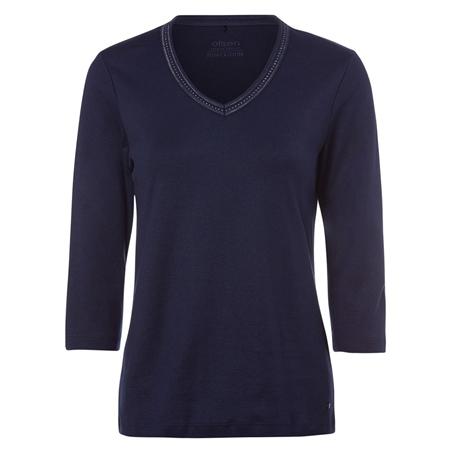 Olsen 100% Cotton Embellished Long Sleeve T-Shirt - Navy