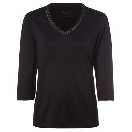 Olsen 100% Cotton Embellished Long Sleeve T-Shirt - Black