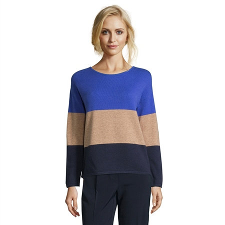 Betty Barclay Colour Block Jumper - Blue Camel  - Click to view a larger image