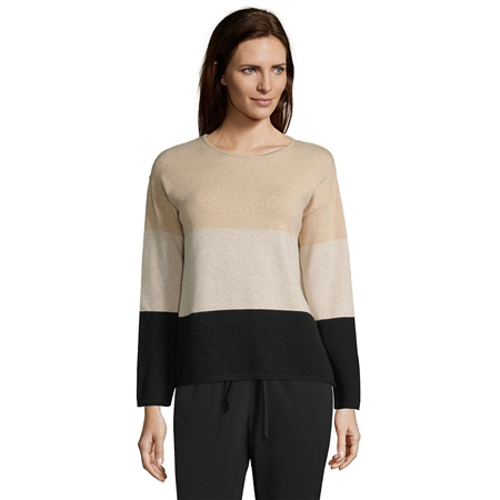 Betty Barclay Colour Block Jumper - Black Camel  - Click to view a larger image