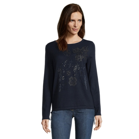 Betty Barclay Embellished Motif Jumper - Dark Sky  - Click to view a larger image