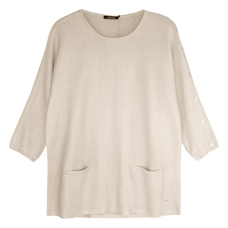 Olsen Sleeve Button Detail Ribbed Jumper  - Click to view a larger image