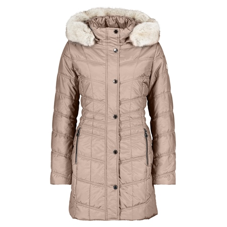 Betty Barclay Faux Fur Trim Padded Coat - Dark Sand  - Click to view a larger image