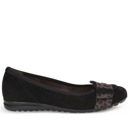Gabor Buckle Detail Animal Print Flat Shoes - Black  - Click to view a larger image
