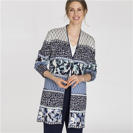Olsen Cotton Blend Longline Multi Print Cardigan  - Click to view a larger image