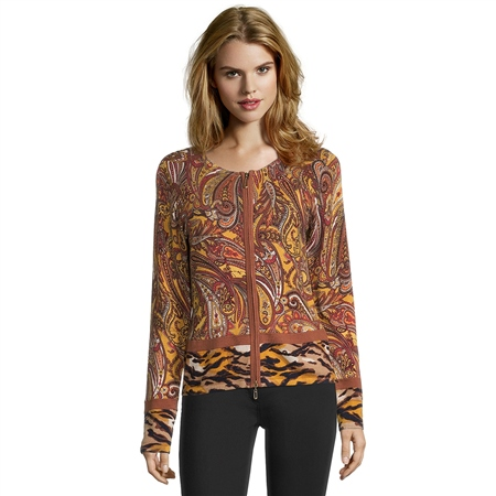 Betty Barclay Paisley Print Zip Up Top  - Click to view a larger image