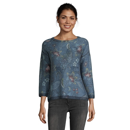 Betty Barclay Faded Floral Embellished Jumper  - Click to view a larger image