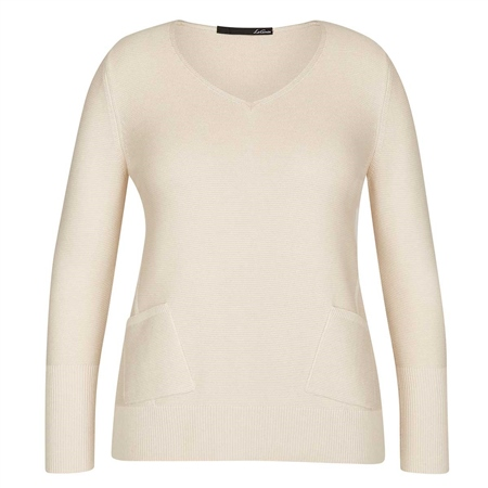 Le Comte Pocket Detail Ribbed Jumper - Ivory  - Click to view a larger image