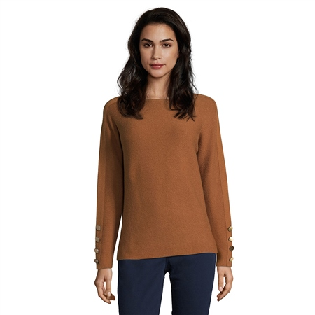Betty Barclay Button Cuff Round Neck Jumper - Brandy  - Click to view a larger image