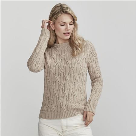 Holebrook 'Bridget' 100% Cotton Cable Knit Jumper - Khaki