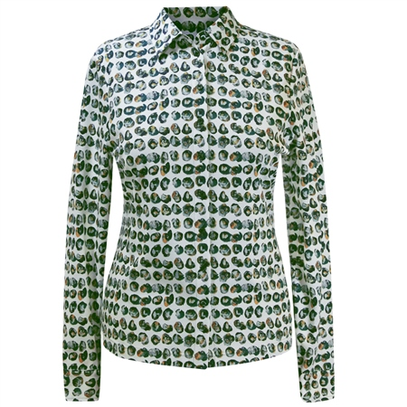 Erfo 100% Cotton Painted Dots Blouse - Green