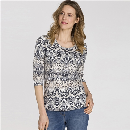 Olsen 100% Cotton Abstract Snake Print T-Shirt - Ivory  - Click to view a larger image