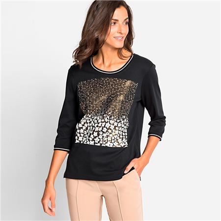 Olsen 100% Cotton Embellished Floral Motif T-shirt  - Click to view a larger image