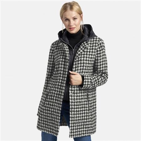 Basler Houndstooth Wool Blend Coat - Mono
